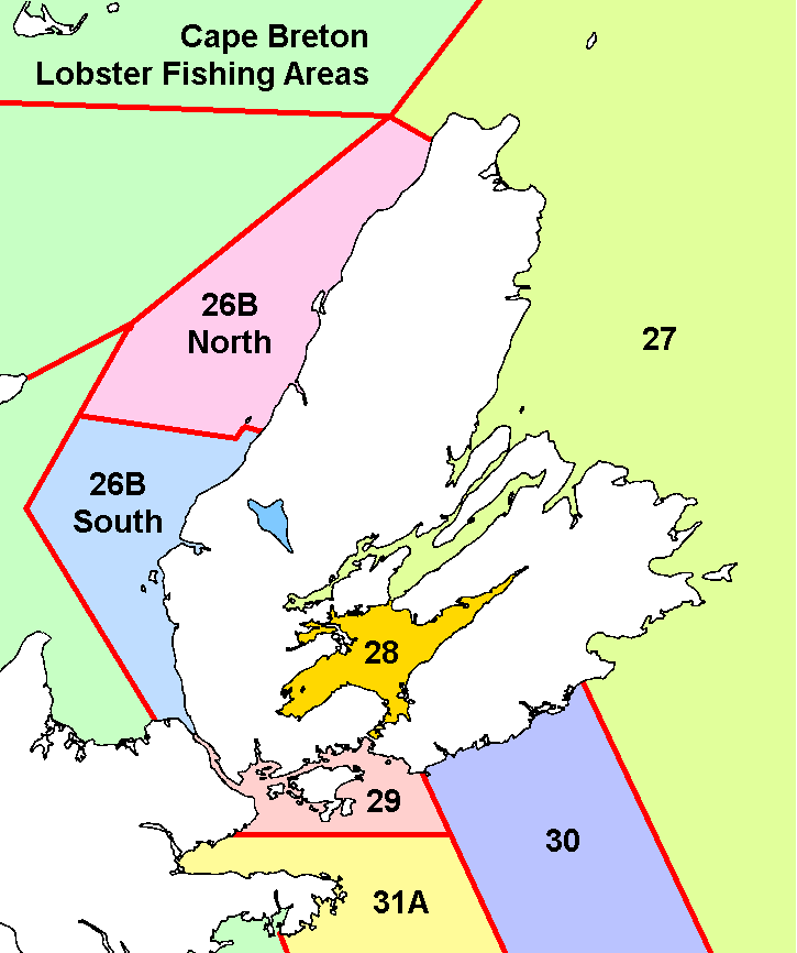 Map of Lobster Fishing Areas