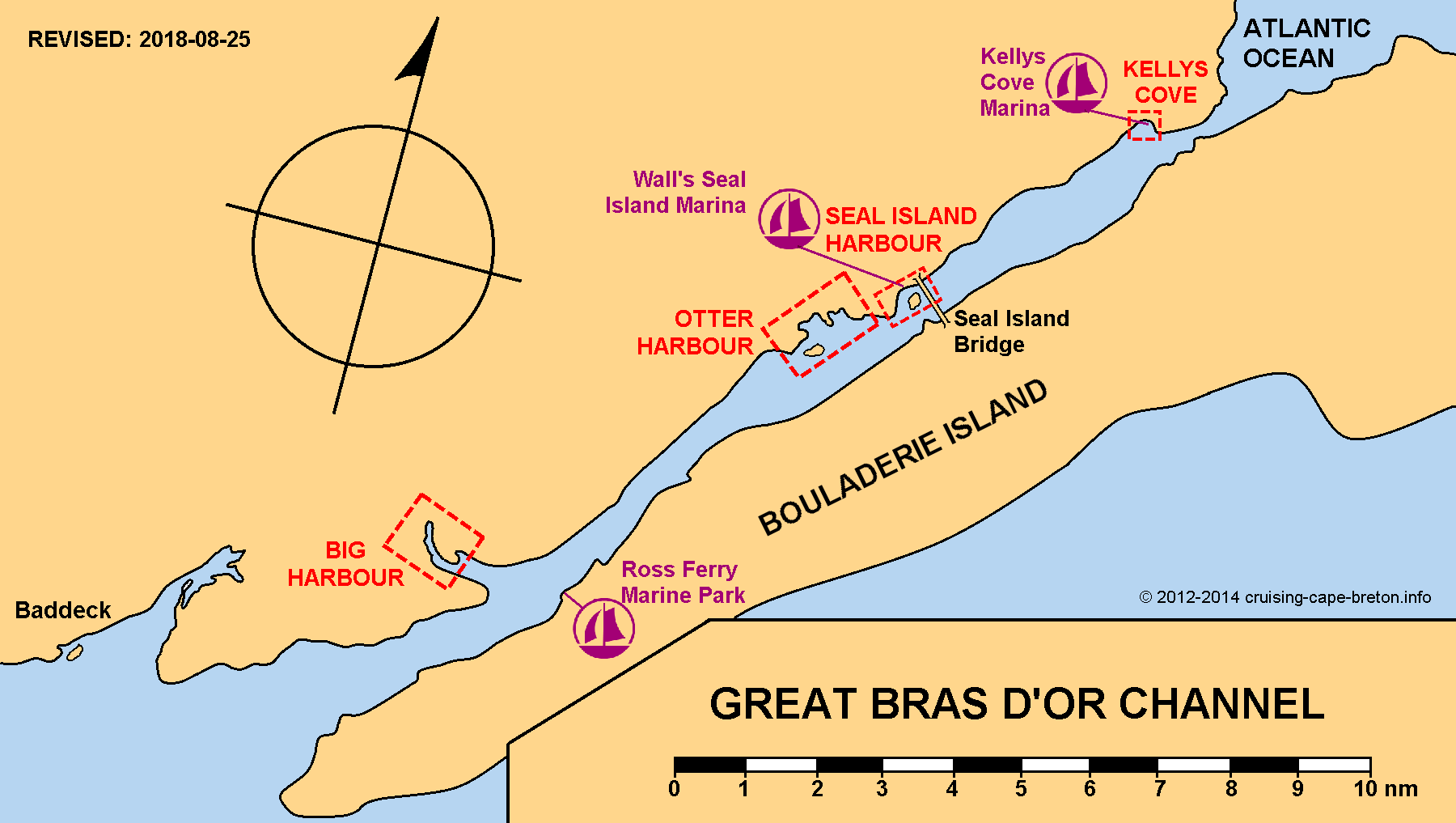 Key Chart to Great Bras d'Or Channel